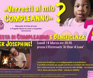 EVENTO BENEFICENZA - FESTA DI COMPLEANNO PER JOSEPHINE